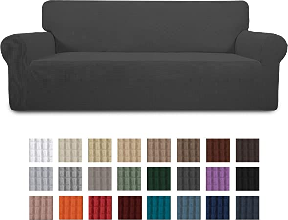 Easy-Going Stretch Sofa Slipcover 1-Piece Couch Sofa Cover Furniture Protector Soft with Elastic Bottom for Kids, Spandex Jacquard Fabric Small ...