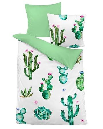 Dormisette Mako Satin Wendebettwäsche Kaktus 135x200 Cm 80x80 Cm