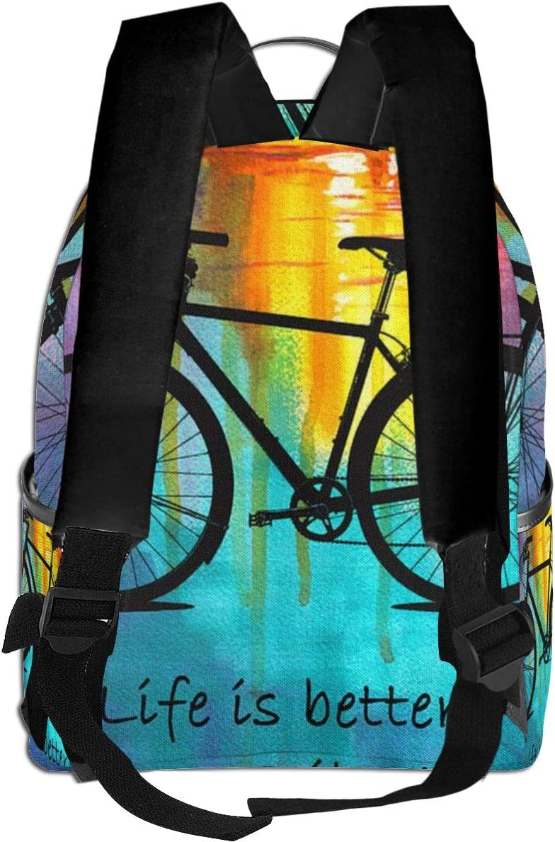 Black Bag Life is Better On A Bike Watercolor Rucksack Sack Laptop Travel School Gym Backpack for Students Mens Womens