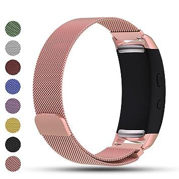 Correa de repuesto iFeeker con cierre magnético, malla milanesa de acero inoxidable para reloj inteligente Samsung Gear Fit2/Gear Fit 2 Pro, color oro rosa: ...