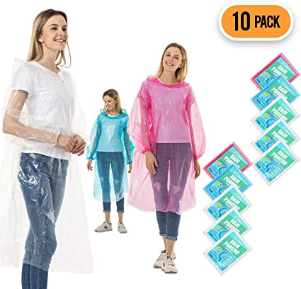 Emergency Disposable Rain Ponchos Sold in Packs of 10.