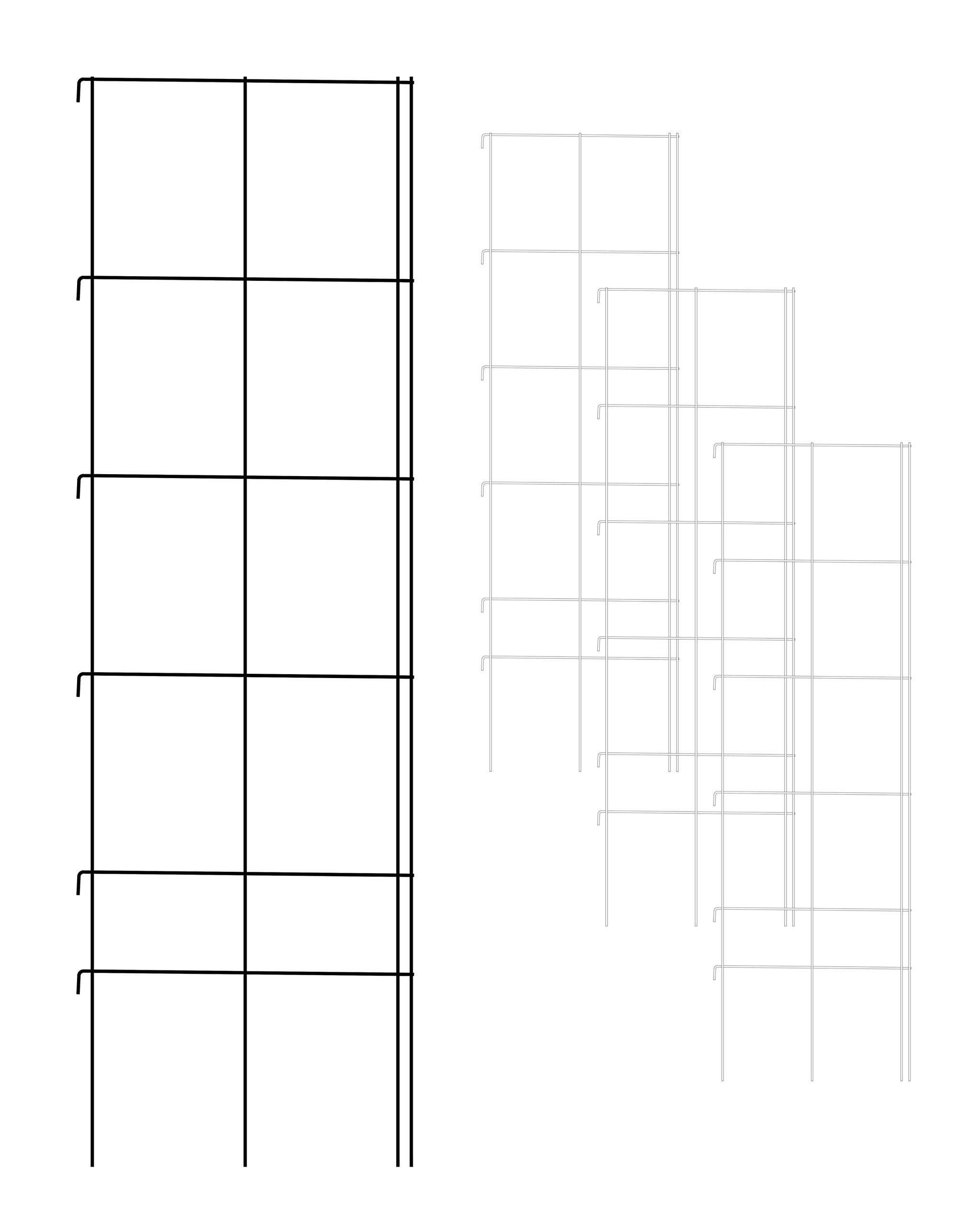 Better Bilt Products Vine Spine (TM), 4 panel pack, 20'' X 66'' Wire Trellis Panel, Large 9'' X 12'' Openings, Made in USA