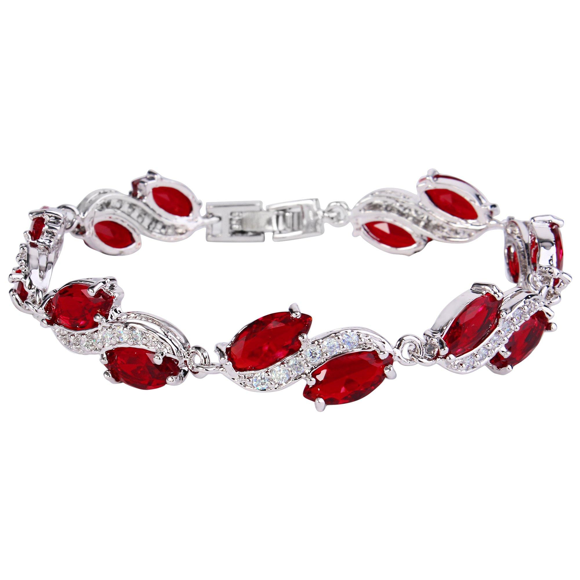 EleQueen Women's Silver-tone Full Cubic Zirconia Marquise Leaf Roman Tennis Bracelet Ruby Color