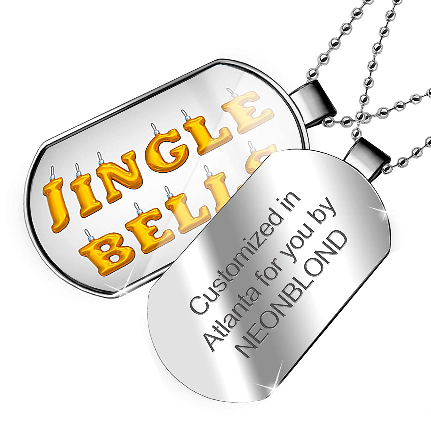 NEONBLOND Personalized Name Engraved Jingle Bells Christmas Ornament Dogtag Necklace