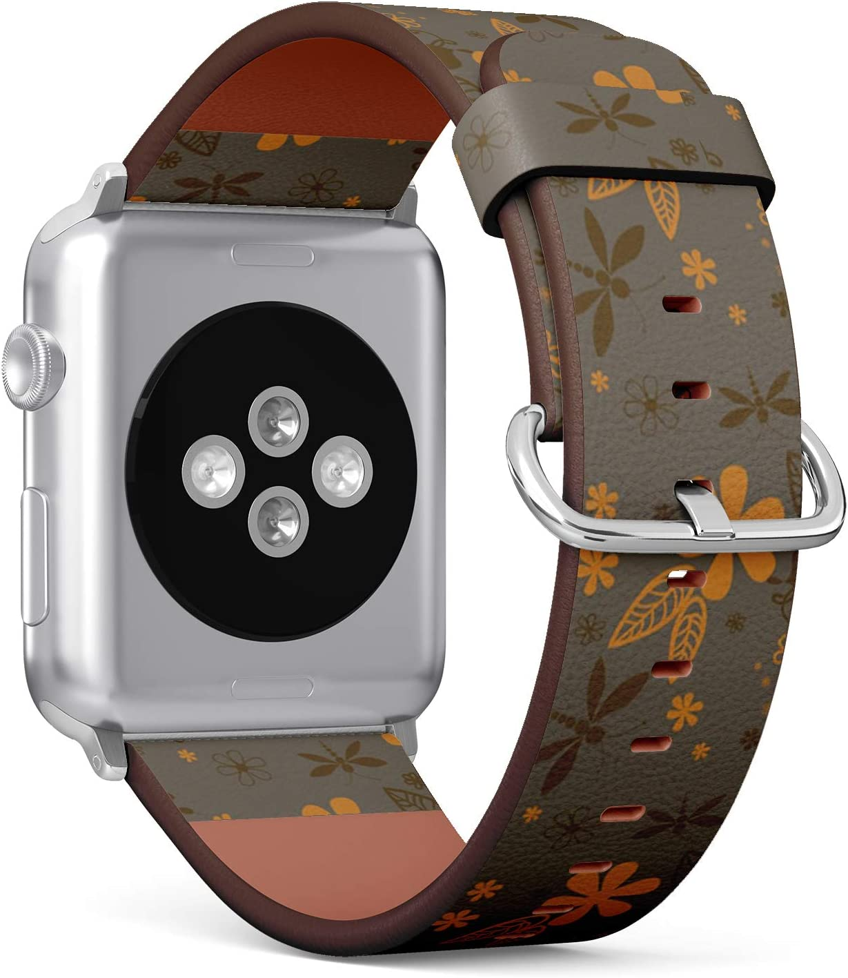 Compatible with Small Apple Watch 38mm & 40mm - (Series 5, 4, 3, 2, 1) Leather Watch Wrist Band Strap Bracelet with Stainless Steel Clasp and Adapters (Dragonflies Night)
