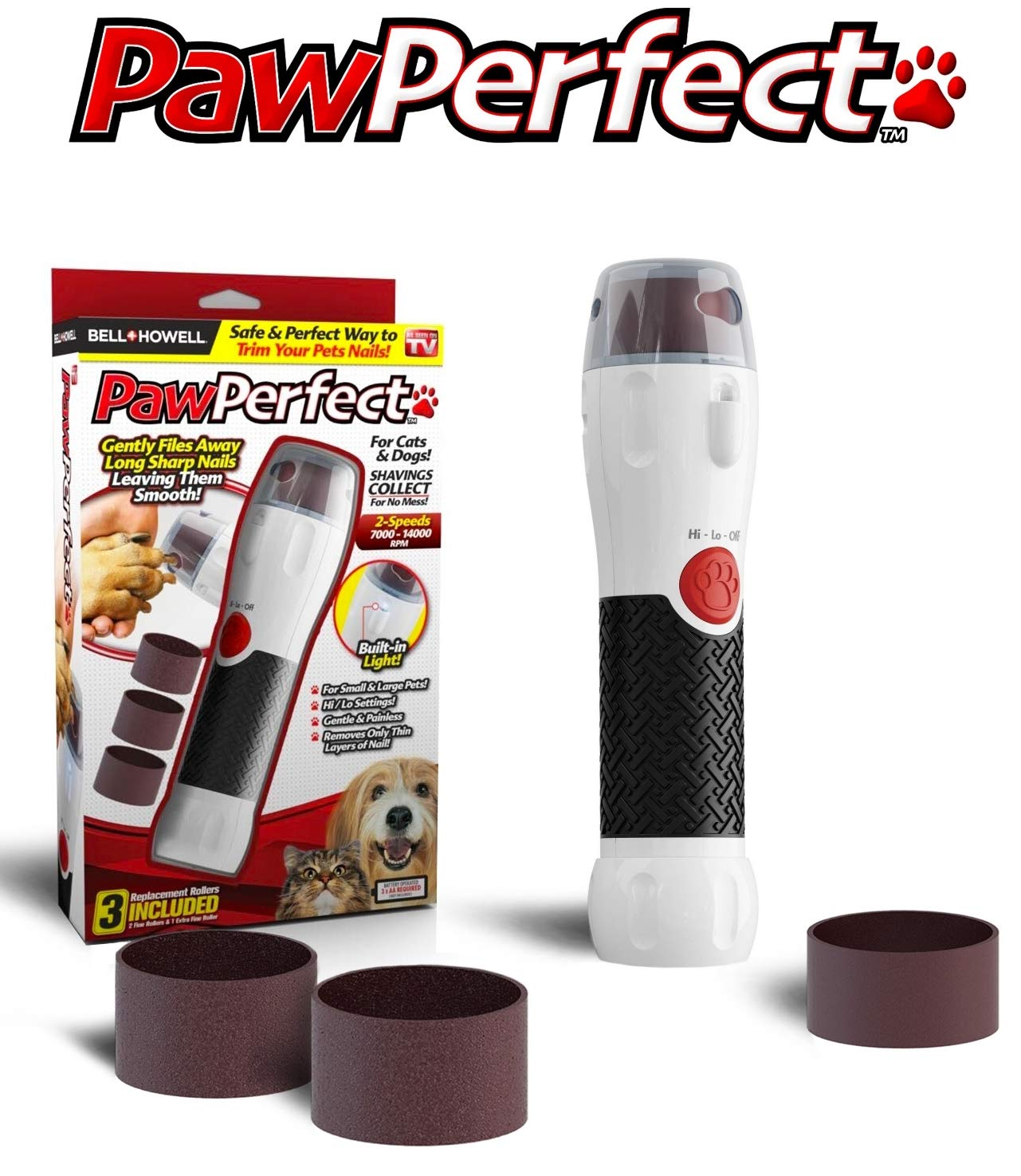 Bell + Howell PAWPERFECT Pet Nail Rotating File with 7000-14,000 RPM's for Dogs, Cats, and Other Small Animals As Seen On TV