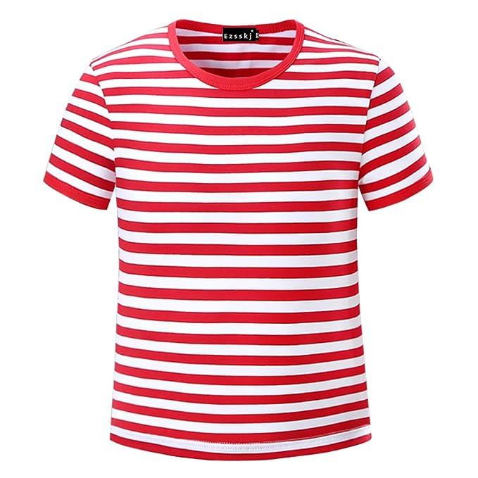 d4c14fb1f Ezsskj Kids Boys Children's Toddler Striped T Shirts Short Sleeve Crew Neck  Stripes Tee: Amazon.ca: Clothing & Accessories