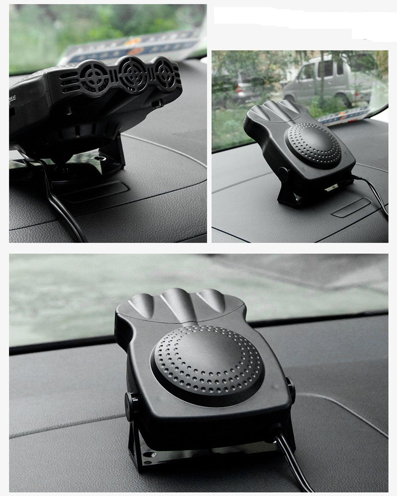 12V 150W Car Vehicle Cooling Fan Hot Warm Heater Windscreen Demister Defroster 2 in1 Portable Auto Car Van Heater(Black)