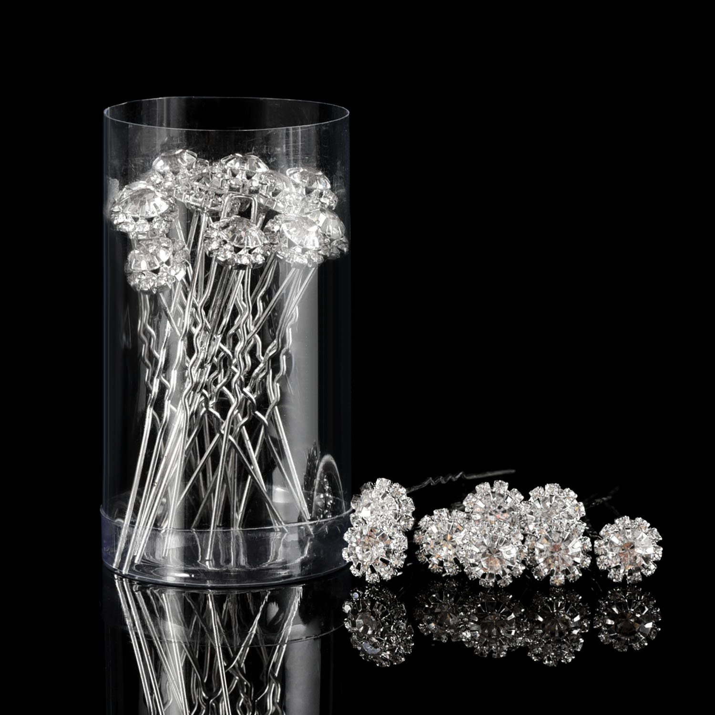 Horquilla de Pelo de Cristal Clip de Pelo en Forma de U de Flor de Diamante de Imitación Accesorios de Clip de Pelo de Novia Boda, 20 Piezas Pangda