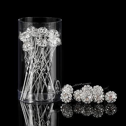Horquilla de Pelo de Cristal Clip de Pelo en Forma de U de Flor de Diamante 2807382ec351