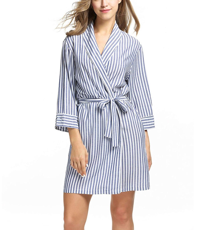 bluee Striped Sleepwear Robe Women's Dressing Gown Casual 3 4 Sleeve Bathrobe Female Home Clothes