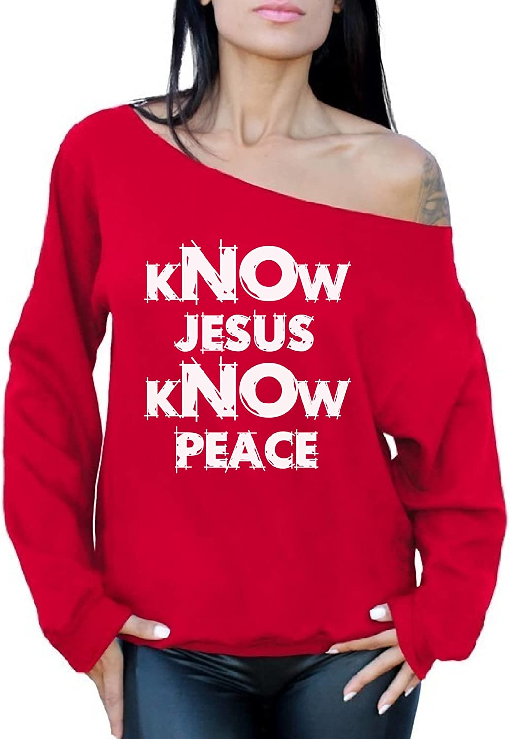 Awkward Styles Womens Know Jesus Know Peace Off Shoulder Tops Sweatshirt Religious Peace Inspiration