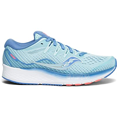 Saucony Women's Ride ISO 2 Running Shoe, Blue/Coral, 6.5 M US | Road Running