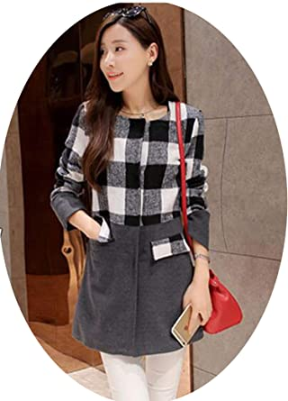 Casaco Feminino Women Long Woolen Coat Plus Size Woolen Plaid Jacket Abrigos Mujer G115,Black