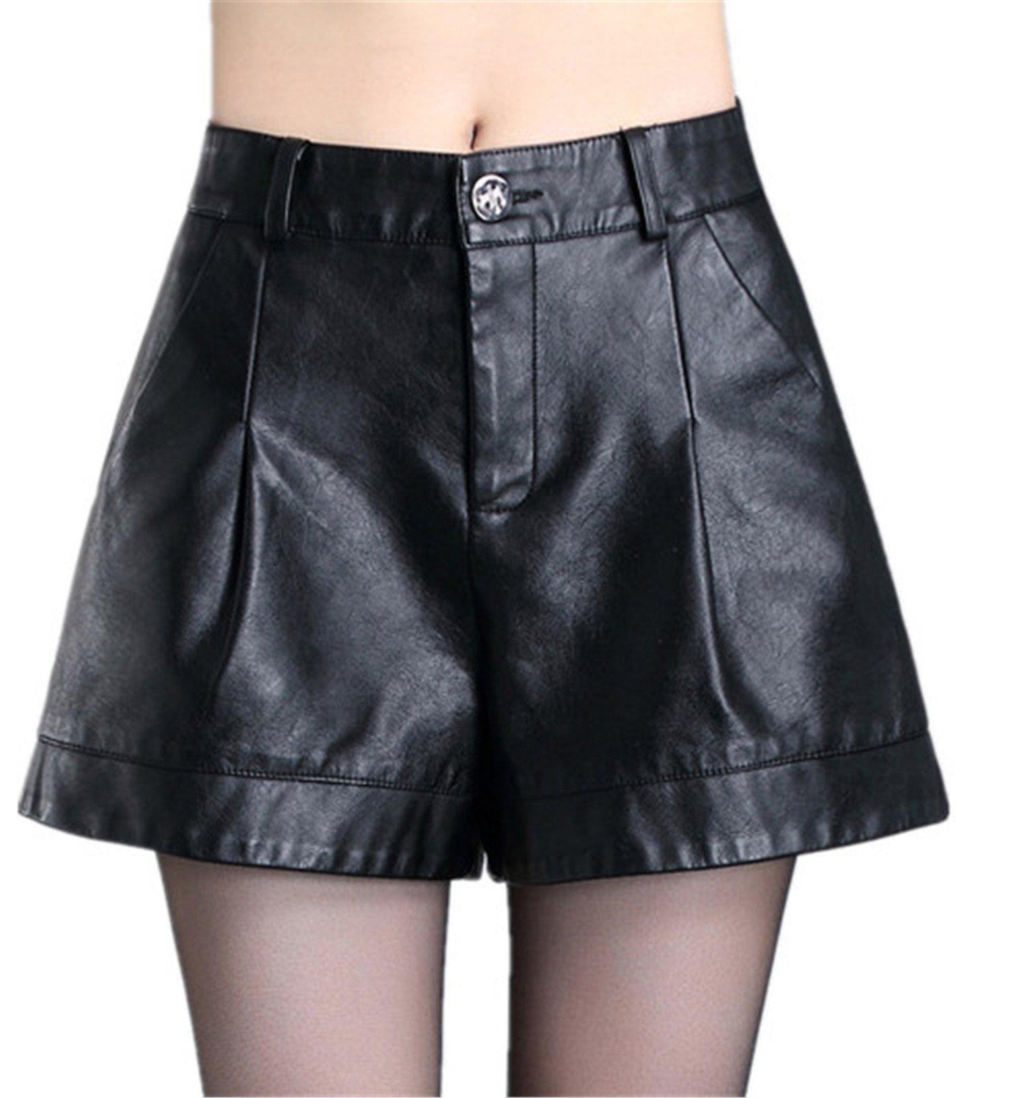 Stephanie Fashion Casual Women Pu Leather Shorts New Slim Shorts Female Boots Shorts M