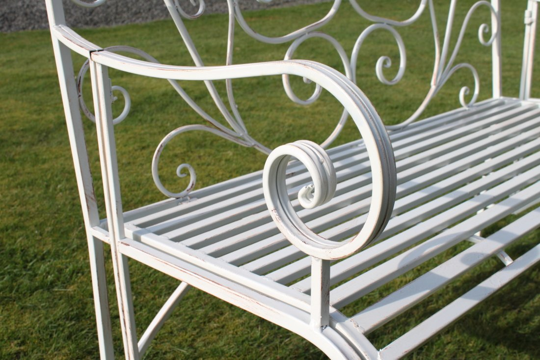 Good Versailles Folding Metal Garden Bench In Antique White Finish:  Amazon.co.uk: Garden U0026 Outdoors