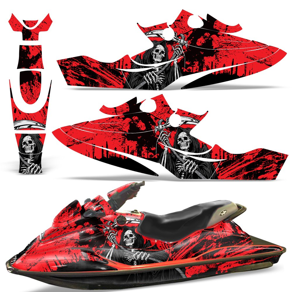 Bombardier SeaDoo GSX 1996-1999 Decal Graphic Wrap Kit Jet Ski Jetski Parts Sea Doo REAPER RED by Wholesale Decals (Image #1)