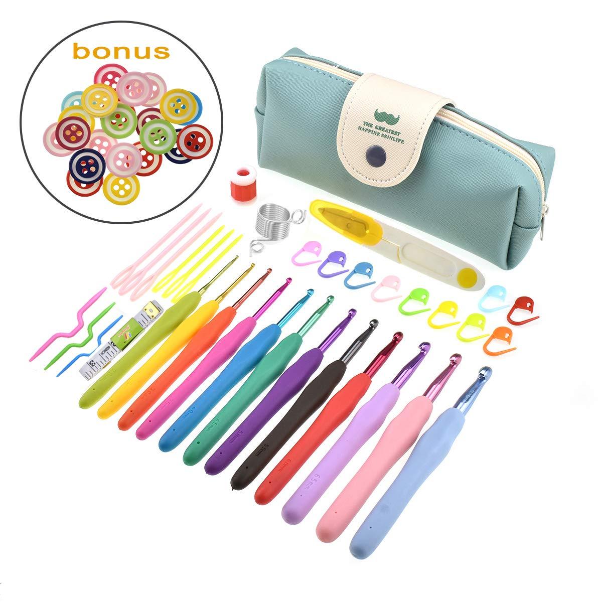 Looen 56 Pack Crochet Kits, 12PCS Colorful Crochet Hooks Set Ergonomic Soft Handles Yarn Knitting Needles for Arthritic Hand Beginner Cute Round Button w/Full Accessories (Colorful Hooks Set)