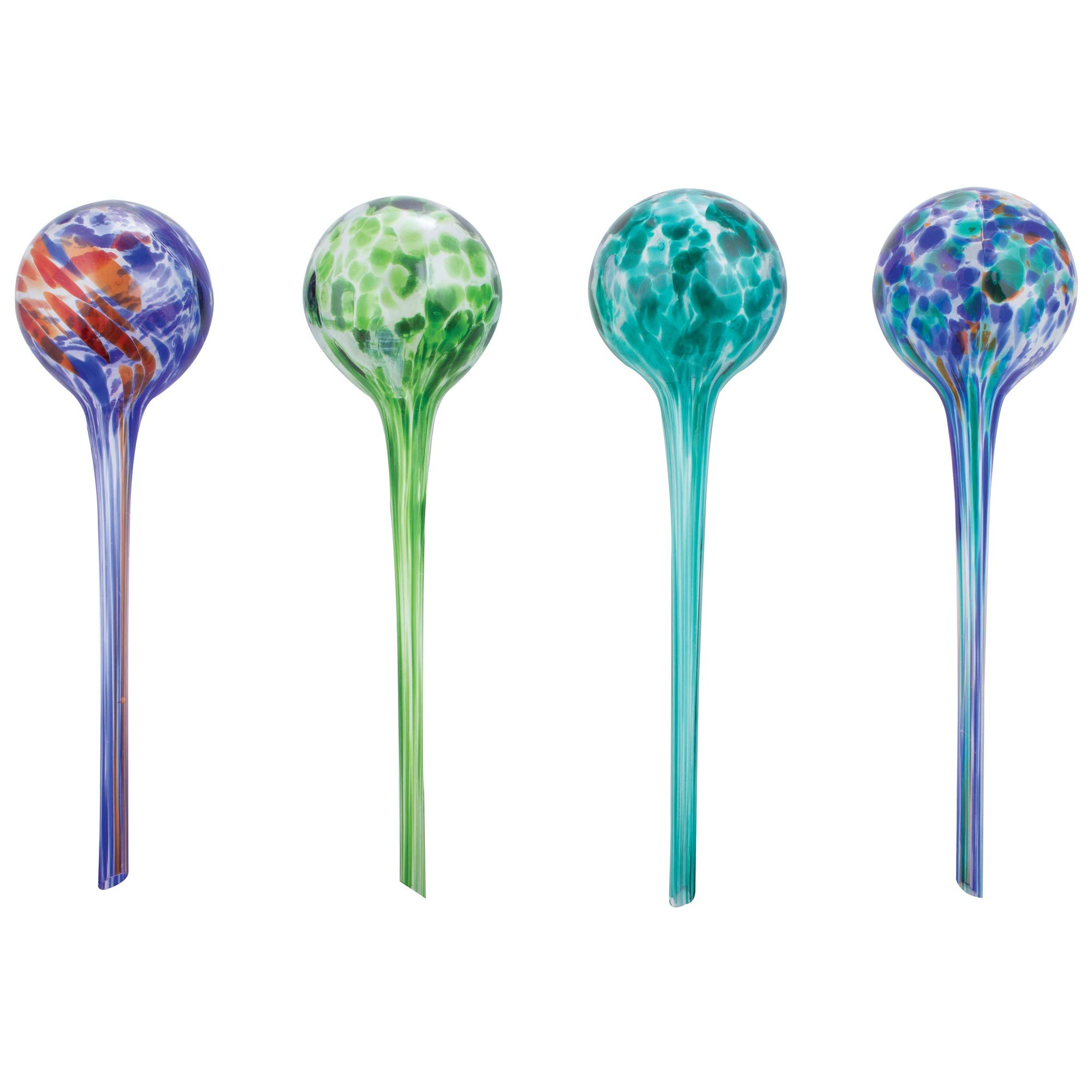Wyndham House 4-Piece Watering Globe Set, Colorful Hand-Blown Glass Plant Watering System by Wyndham House