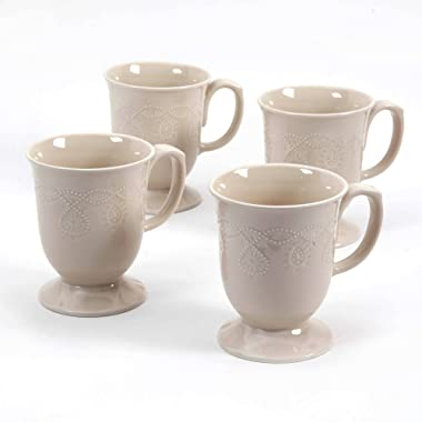 The Pioneer Woman Cowgirl Lace Mug Set, Set of 4 (Linen/Beige)