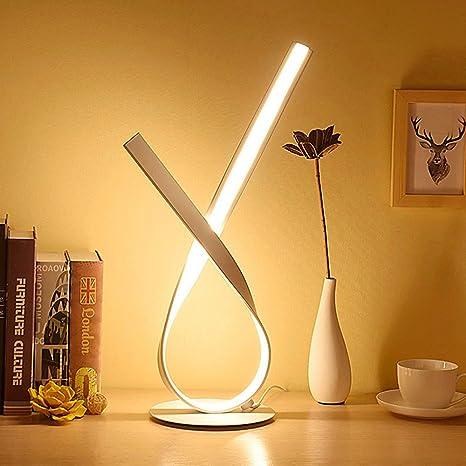 ELINKUME Lámpara de mesa LED Twist - 12W lámpara de noche con pie 18,89 pulgadas de altura en 6,29 pulgadas base-fácil largo-prensa controlada ...