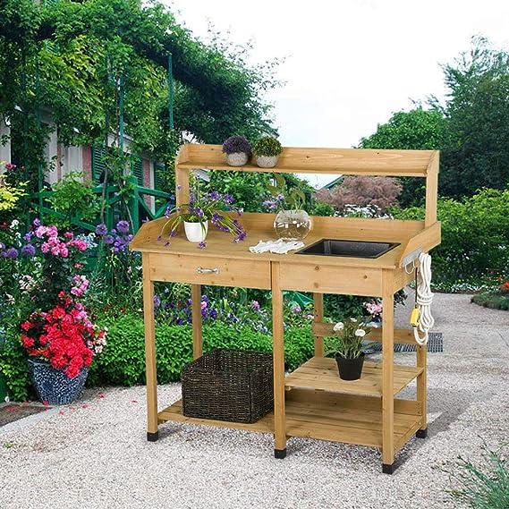 Amazon.com: Yaheetech - Banco para macetas de jardín al aire ...
