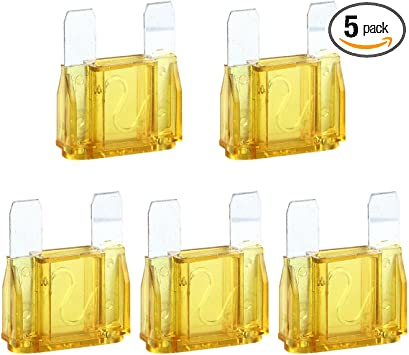 5 Pack of 20 Amp 20A Large Blade Style Audio Maxi Fuse for Car RV Boat Auto
