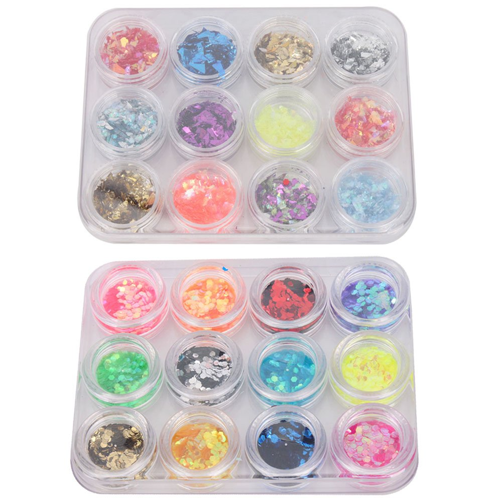 12 Color Nail Art UV Gel Acrylic Crushed Shell Powder + 12 Color Hexagon Shiny Glitter Flakes Decor Unknown