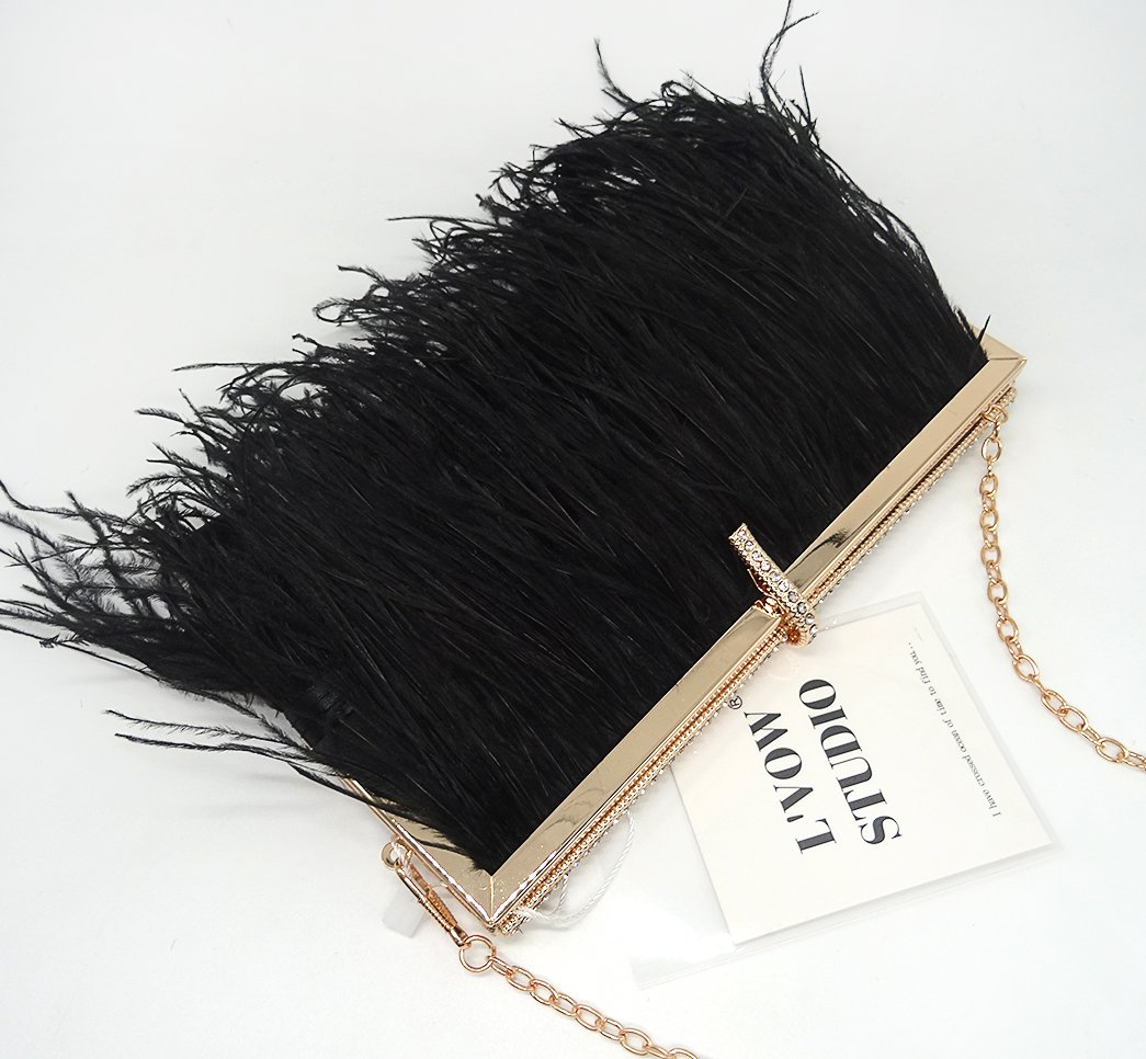Zakia Real Natural Ostrich Feather Evening Clutch Shoulder Bag Party Bag (Black-B) by Zakia (Image #4)