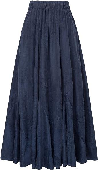 GRACE KARIN Mujer Falda Larga con Volantes para Fiesta Azul Marino ...