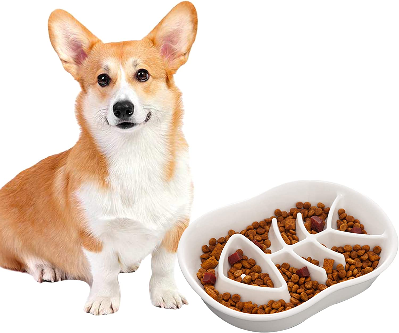 Jemirry Dog Slow Feeder Ceramic Cat Dog Bowl Dog Dish Slow Feeding Food Bowls for Bulldog Puppy Medium Dogs Pet Diet- White