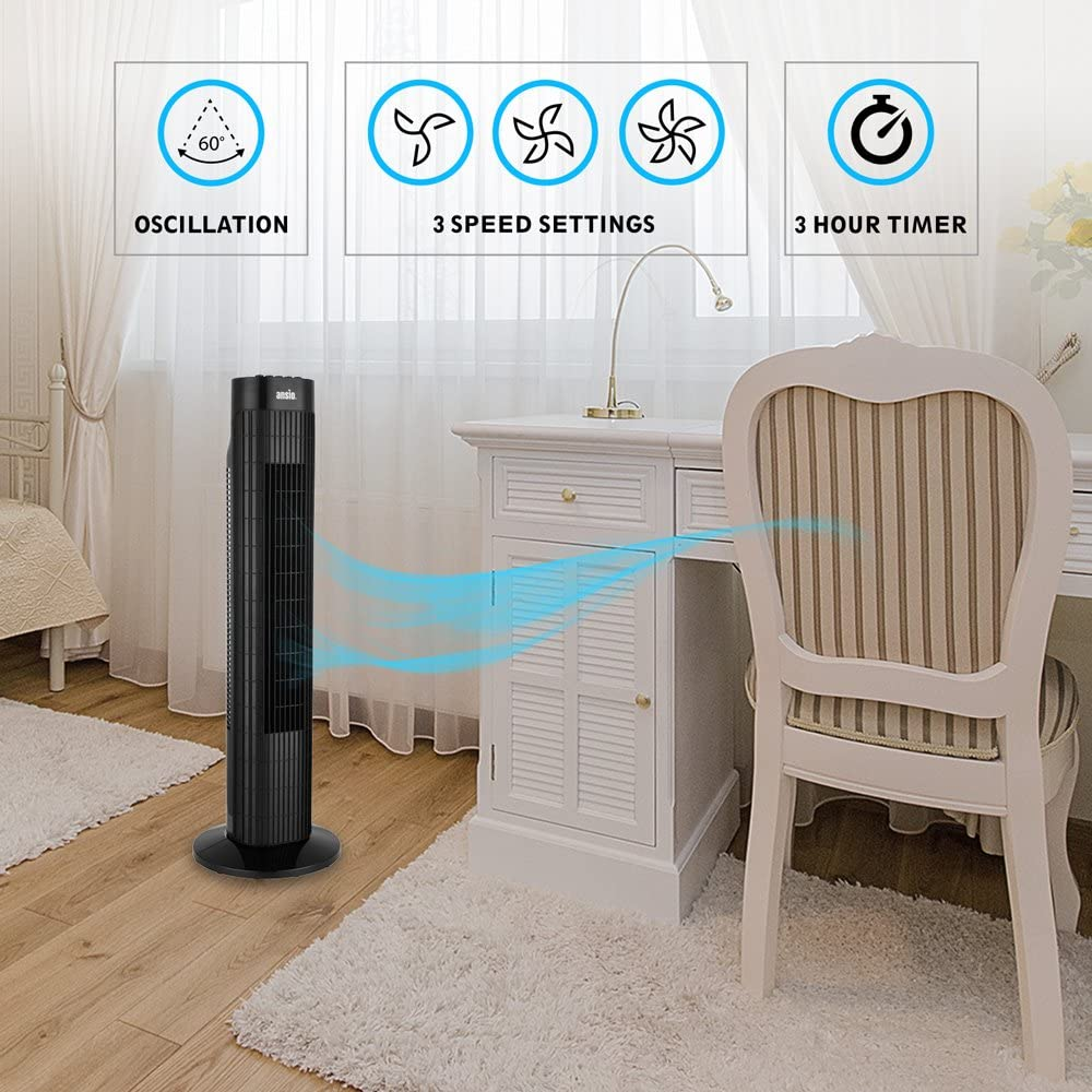 3 Hours Timer Black /& White 3 Speed Oscillating Cooling Fan with 2 Year Warranty ANSIO Tower Fan 30-inch For Home and Office