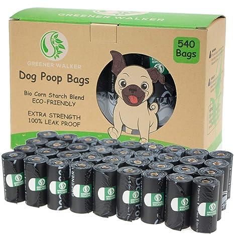Greener Walker Bolsas para Excrementos de Perro,540 Unidades,Extra Grueso,Fuerte y 100% a Prueba de Fugas Biodegradable Bolsas para Caca de ...