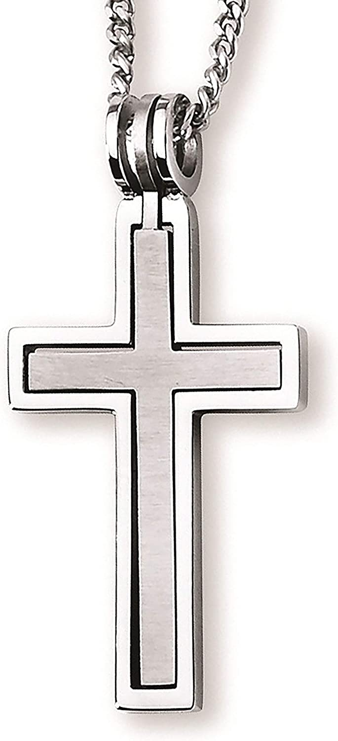 """Boston Bay Diamonds Stainless Steel Hinged Cross-Within-a-Cross 1-3/4"""" Men's Matte & Polished Finish Pendant Necklace with 24"""" Curb Chain"""