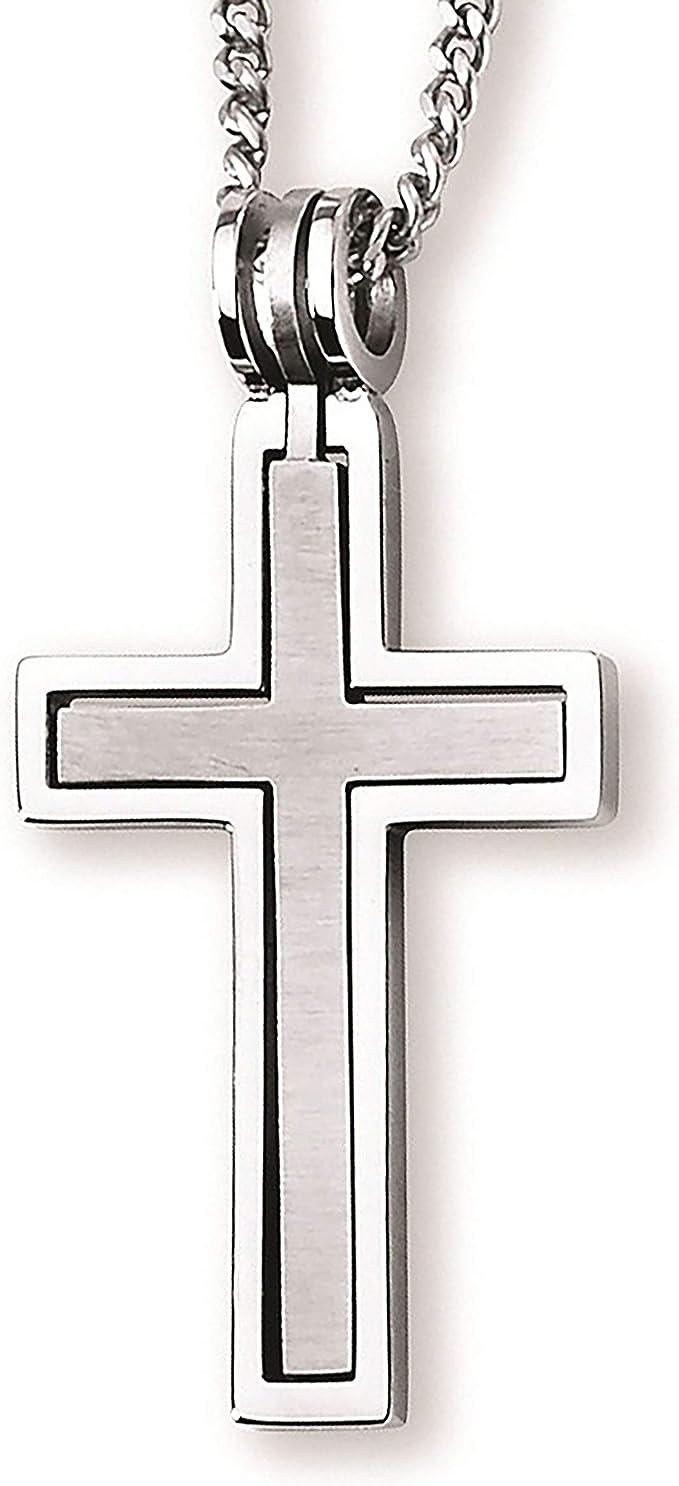 Details about  /Fashion Men Vintage Bless Cross Titanium Stainless Steel Round Pendant