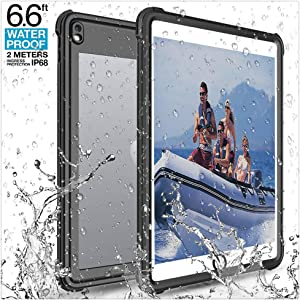 iPad Pro 10.5 Waterproof Case, Underwater Full-Body Sealed Waterproof Shockproof Rugged Kickstand Protective Cover Universal Waterproof Case for Tablets