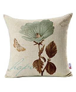 Monkeysell Lotus Leaf Butterfly Flowers Hope Pattern Cotton Linen Throw Pillow Case Cushion Cover Home Sofa Decorative 18 X 18 Inch (S042A1)