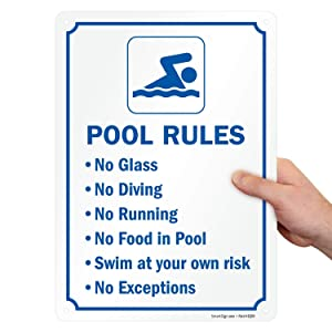 SmartSign Pool Rules Sign - No Diving, No Running, No Food, No Glass Sign, 10 x 14 Inches, 40 Mil Thick Aluminum, Laminated for Longer Life, Rust-Free, USA Made