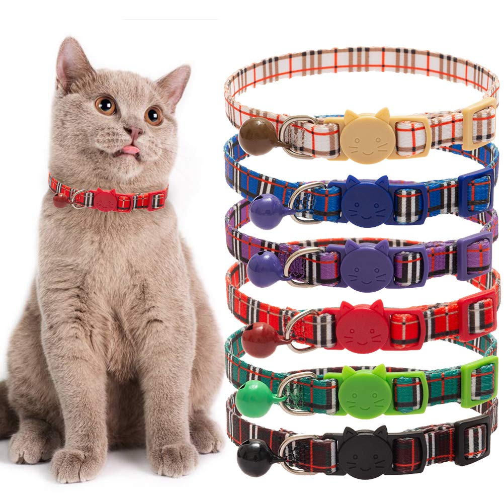 Adjustable From 20-30cm Safety Buckle Bell Collars BINGPET 6 Pcs Quick Release Cat Collar with Classic Plaid Pattern