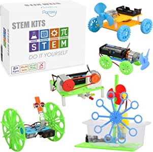 5 Set STEM Kit,DC Motors Electronic Assembly Kit for Kids DIY STEM Toys Intro to Engineering, Mini Cars, Circuit Building DIY Science ExperimentProjects for Boys and Girls