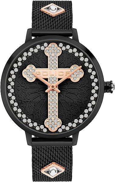 Orologio con croce police analogico quarzo unisex adulto con cinturino in acciaio inox pl16031msb.02mma
