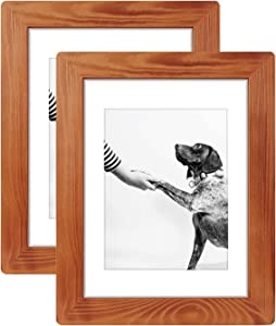 9x12 Rustic Wooden Picture Frame, Display Pictures 6x8 with Mat Or 9x12 Without Mat for Wall Decor, Horizontal Or Vertical Display(2pack)