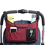AMZNEVO Best Universal Baby Jogger Stroller Organizer Bag / Diaper Bag with Deep Cup Holders and Shoulder Strap. Extra Storage Space for Organize the Baby Accessories and Your Phones. (RED)