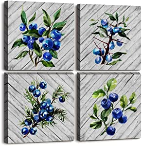 Blue Wood grain blueberry Watercolor painting modern Canvas Wall Art for Living Room 4 piece bathroom Wall Decor bedroom Decorations plant fruit Canvas Prints kitchen Home Decoration Poster Artwork