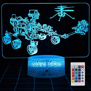 SHINECLOUD Perseverance Mars Rover Night Light Ingenuity Mars Helicopter 3D Optical Illusion LED Lamp for Adult or Kids as Birthday Gifts or Other Holiday Present