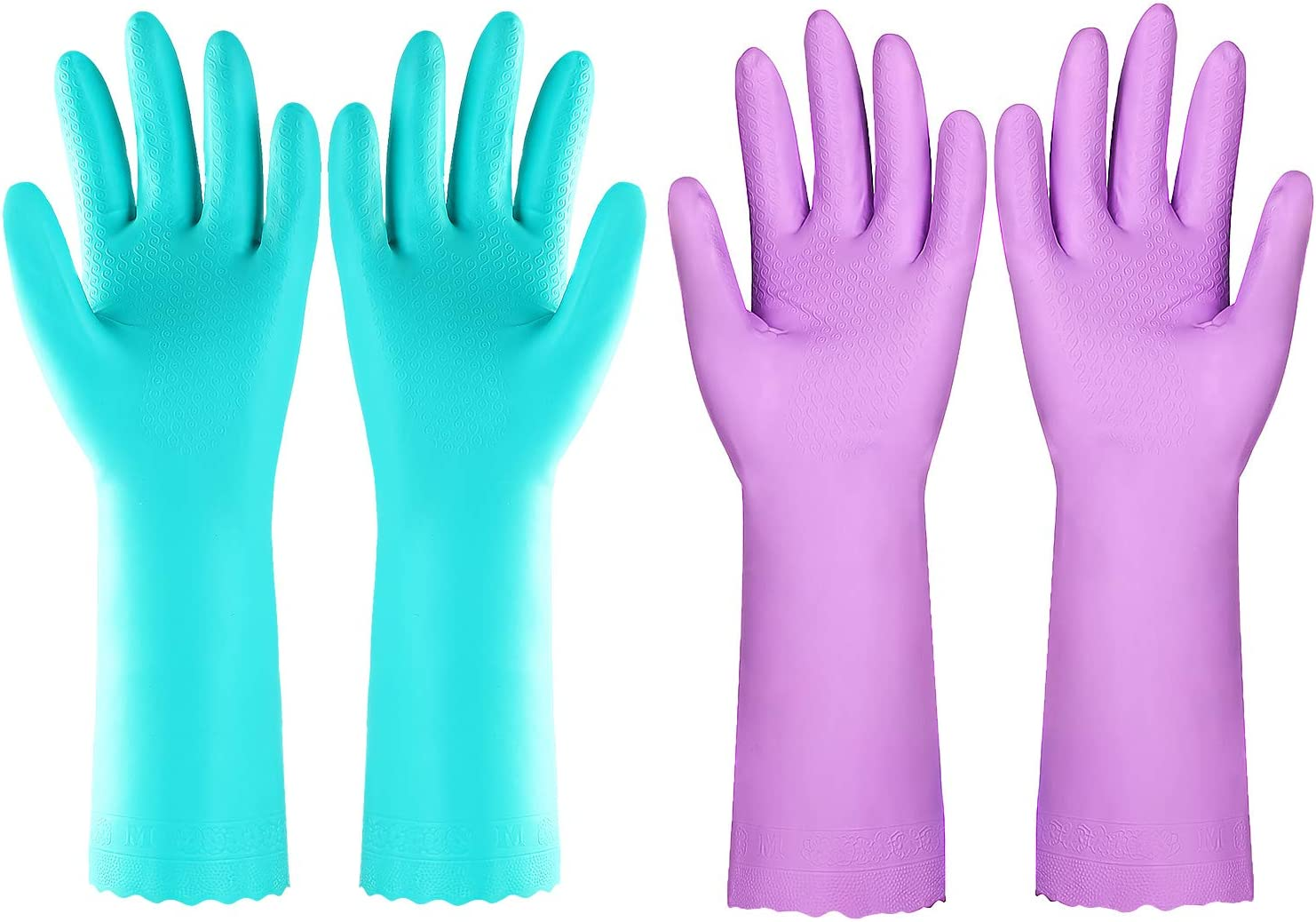 Elgood Dishwashing Cleaning Gloves with Latex Free, Cotton Lining,Vinyl Kitchen Gloves 2 Pairs (Purple+Blue, Medium)