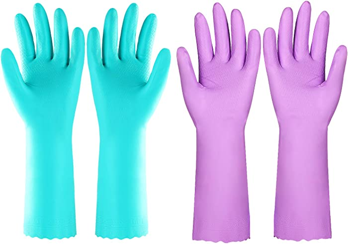 Elgood Reusable Kitchen Cleaning Gloves with Latex Free,Vinyl, Cotton Lining, Non- Slip Swirl Grip Gloves for Dishwashing 2 Pairs (Purple+Blue, Large)