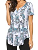 Henley Shirt,Women's Casual Tunic Blouses Floral