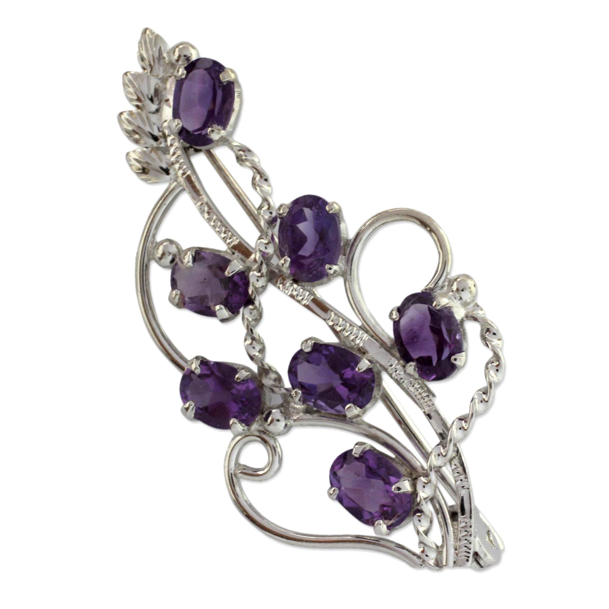 NOVICA Amethyst .925 Sterling Silver Floral Brooch 'Lilac Story'