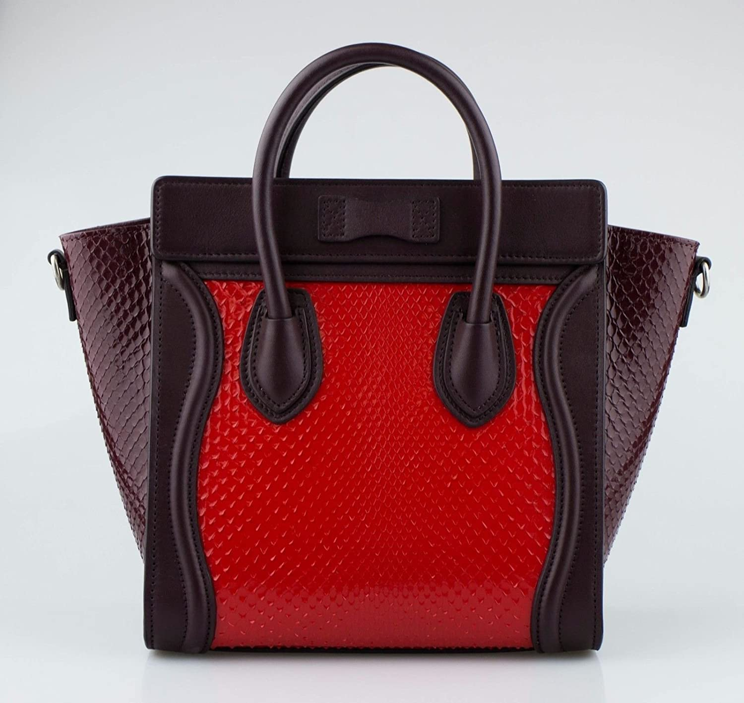 ce3dff48ade Amazon.com: CELINE Red/Brown Shiny Python Leather Nano Luggage ...